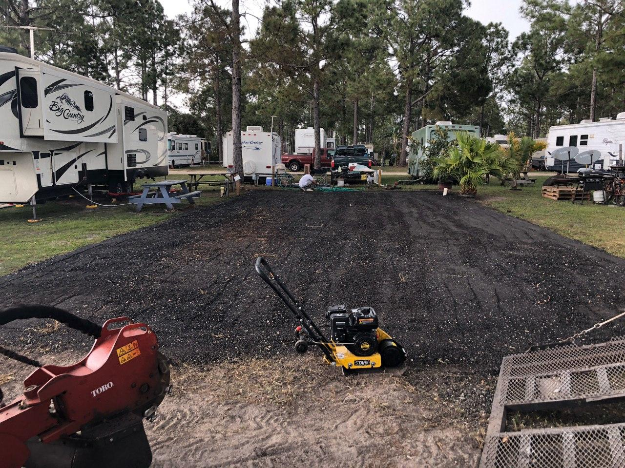 asphalt millings installation at an RV park in Bunnell